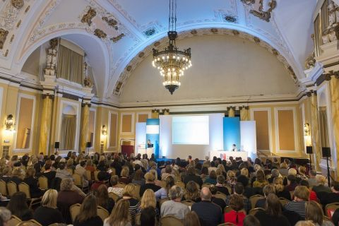 Audience facing a stage at Royal College of Nursing Conference