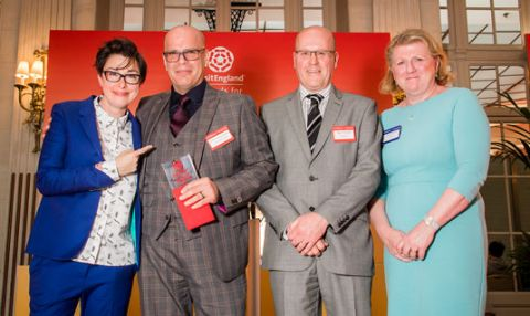 2017 Tourism Supertstar, Duane Dibartolomeo, receiving his award from Sue Perkins, with Nigel Thompson and Sally Balcombe on state at the VisitEngland Awards for Excellence 2017.