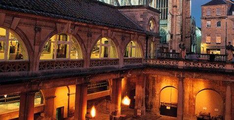 The Roman Baths lit up at night