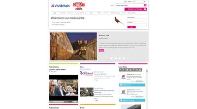 Screenshot of the VisitBritain media centre