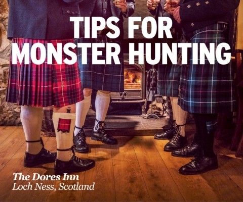 Tips for Monster Hunting campaign image legs of four Scottish men in Kilts