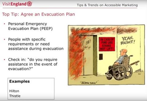 screenshot of a slide showing top tips for accessible fire safety