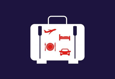 icon of a suitcase with travel-related icons inside