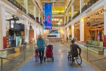 Wheelchair users in the Science Museum