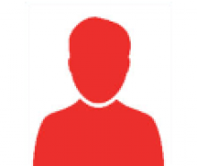 A red cartoon icon of a person