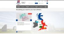 Screenshot of homepage of VisitBritain shop website