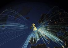 Map of the UK including a showing inbound European flight paths.