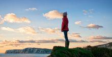 girl looking at sea view