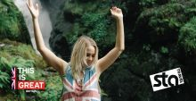 Wildcard UK campaign image with Australian reality star Tully Smith in front of a waterfall