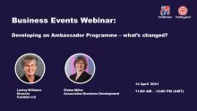Banner featuring speakers for Ambassador programme webinar