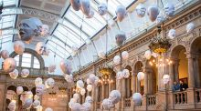 Floating Heads Installation by Sophie Cave at the Kelvingrove Art Gallery and Museum, Glasgow, Scotland