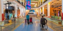 Man in wheelchair in a museum