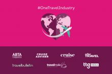 Collection of travel media logos and a large pink heart