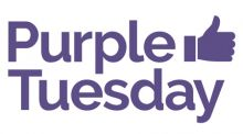 Purple Tuesday logo. text in purple with a purple thumbs up icon