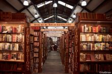 Interior view of Barter Books, a secondhand bookshop in Alnwick, Northumberland.