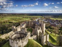 Aerial view of Arundel Castle and the landscape in West Sussex. Photograph By Chris Gorman/Big Ladder.