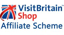 VisiBritain shop logo. Blue, red and white union jack flag with the text 'VisitBritain Shop affiliate scheme'