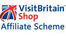 VisiBritain shop logo. Blue, red and white union jack flag with the text 'VisitBritain Shop affiliate scheme'