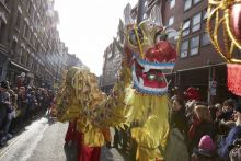 A Chinese dragon on parade in London (c) Andy Hall
