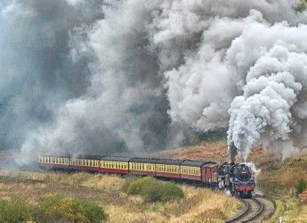 a steam train travelling through the countryside