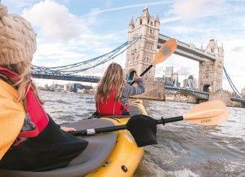 People kayaking by Tower Bridge, London