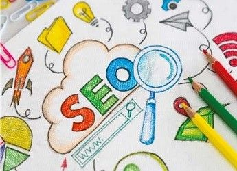 A hand-illustrated drawing of the word SEO