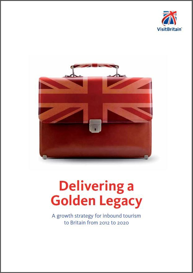 Cover of Delivering a Golden Legacy: a growth strategy for inbound tourism 2012-2020 featuring a red briefcase with Union Jack on it on a white background