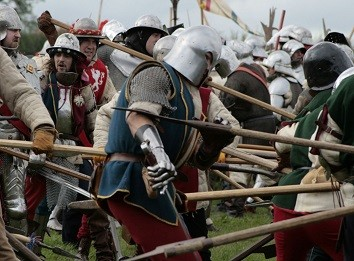a battle re-enactment on Bosworth Battlefield