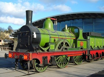 Green train engine at the National Railway Museum