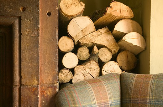 Logs by a fire