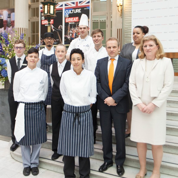 Sally Balcombe and Hilton apprentices