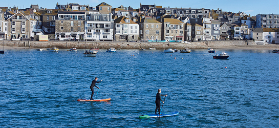 Stand up paddle-boarders in harbour, St. Ives, Cornwall, England.