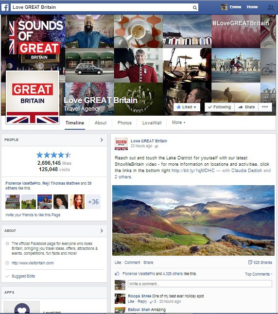 VisitBritain's Love GREAT Britain Facebook profile page with collage of Sounds of GREAT Britain campaign in header image
