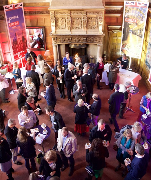 Networking opportunity at an event with VisitBritain banners